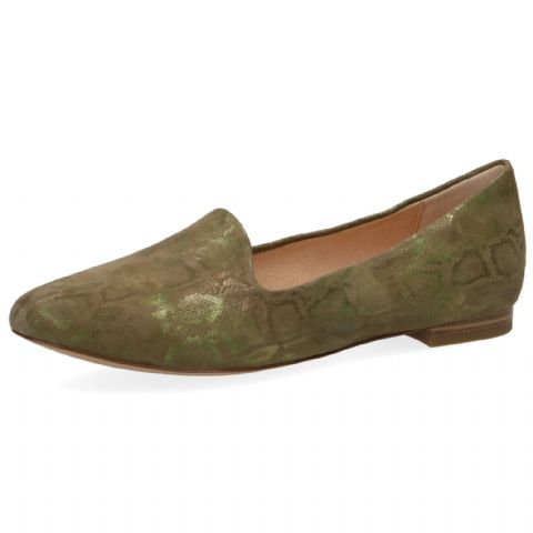 CAPRICE Khaki Green  Leather Shoes
